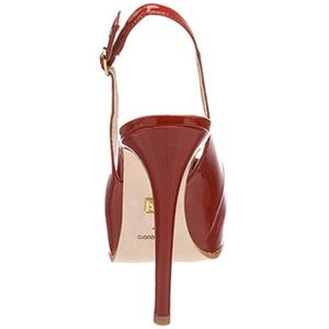 Pour La Victoire Aria Slingback Strap High Heel Patent Leather Red Shoes